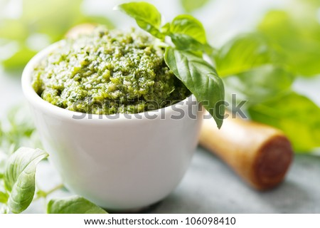 closeup of freshly made pesto - stock photo