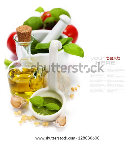 closeup of freshly made pesto (with easy removable sample text) - stock photo
