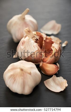 Closeup of garlic group