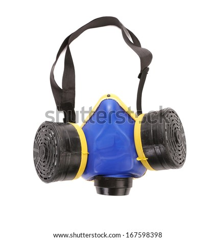 Closeup of gas mask. Isolated on a white background. - stock photo