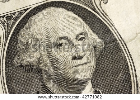 Closeup of George Washington as depicted on US one dollar bill - stock photo
