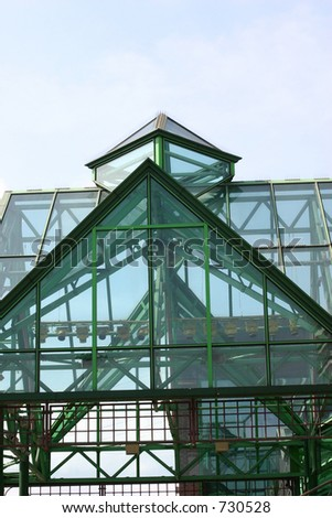 Closeup of Glass and Steel Roof of Liverpool Shopping Precinct
