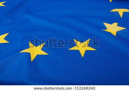 Closeup of Glossy Flag of European Union - Shallow Depth of Field