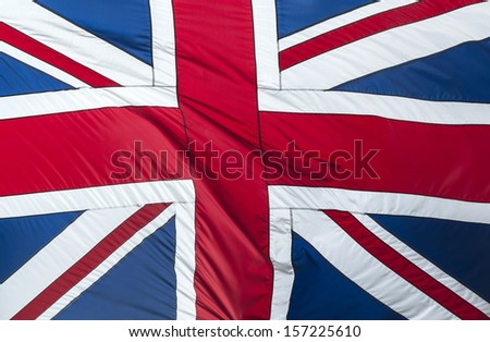 Closeup of Glossy Flag of Great Britain