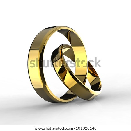 Closeup of Gold wedding bands with clipping path on a white background. - stock photo