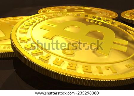 Closeup of golden Bitcoins on a dark background - stock photo