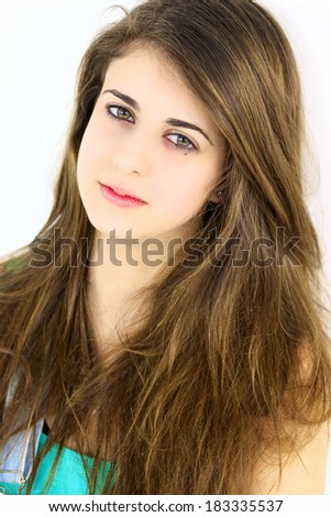 Closeup of gorgeous brunette caucasian girl