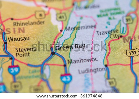 Closeup of Green Bay on a geographical map. - stock photo