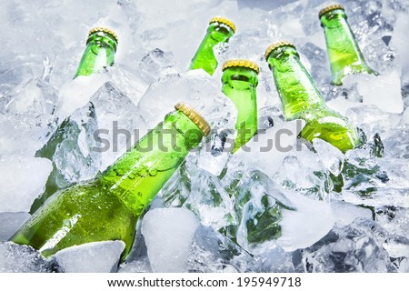 Closeup of green beer bottles getting cool in ice cubes. - stock photo