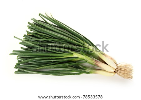 Closeup Of Green Spring Onion Vegetable on white background - stock photo
