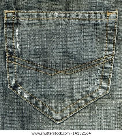 Closeup of grey denim jeans pocket. - stock photo