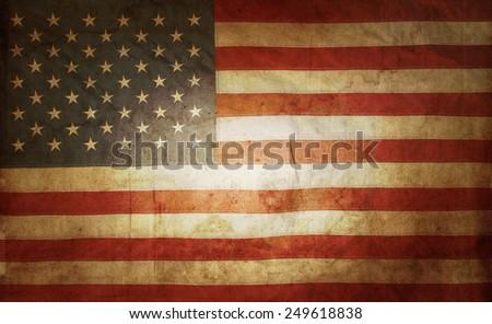 Closeup of grunge American flag - stock photo