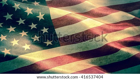 closeup of grunge American USA flag, united states of america  - stock photo