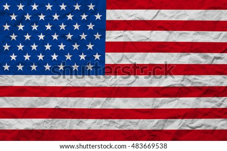closeup of grunge paper American USA flag, united states of america