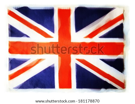 Closeup of grunge Union Jack flag - stock photo
