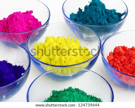 Closeup of gulal in containers - stock photo