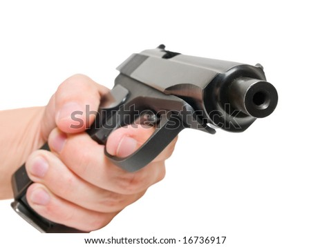 closeup of gun on hand isolated over white. shallow dof - stock photo