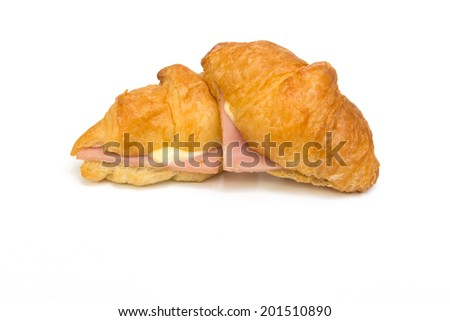 closeup of Ham Cheese croissant on white background