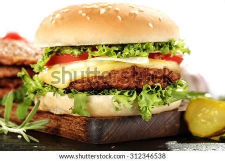 closeup of hamburger