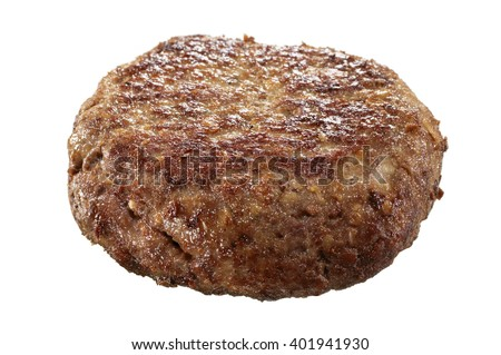 Closeup of hamburger patty on white background - stock photo