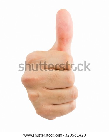 closeup of hand gesture of ok isolated on white background - stock photo