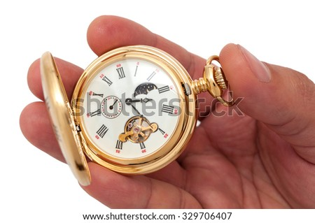 Closeup of hand holding pocketwatch on white background