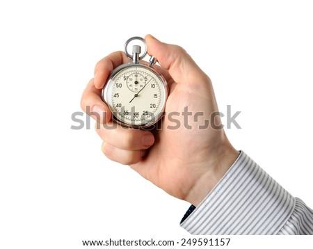 Closeup of hand holding stopwatch, isolated on white background