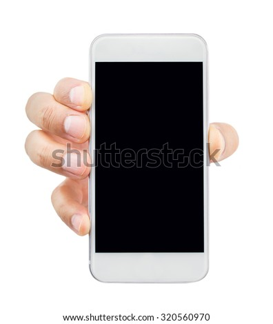 closeup of hand holding the smartphone isolated on white background - stock photo