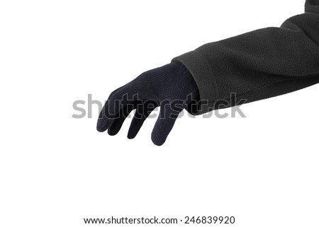 Closeup of hand wearing black gloves and ready to steal something - stock photo