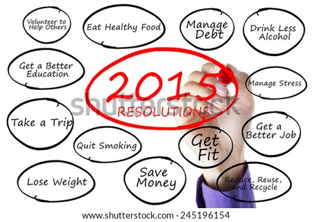 Closeup of hand writes the resolutions list of 2015 on whiteboard - stock photo