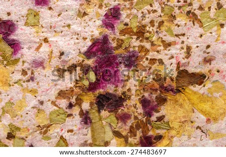 Closeup of handmade paper texture background.