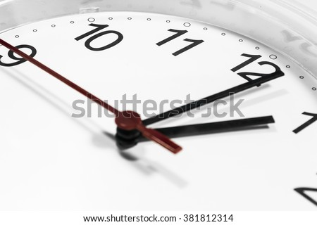 Closeup of hands on clock face.sensitive focus