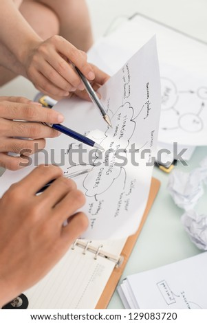 Closeup of hands showing at the plan - stock photo