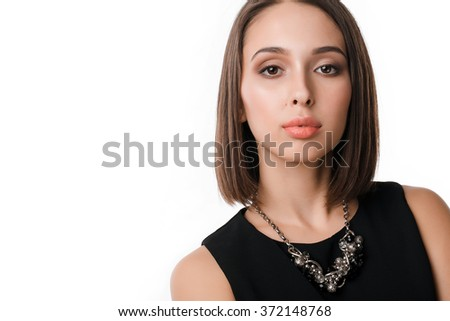 Closeup of happy caucasian female business woman isolated on white background - stock photo