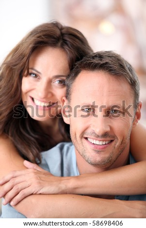 Closeup of happy couple at home