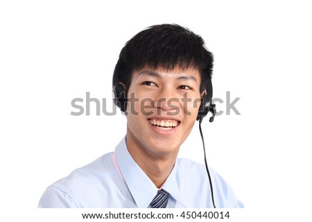 Closeup Of Happy Telephone Operator.