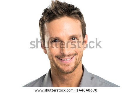Closeup Of Happy Young Man Isolated Over White Background - stock photo