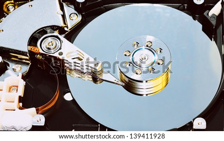 Closeup of  hard disk