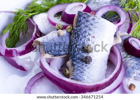 Closeup of herrings on plate - stock photo