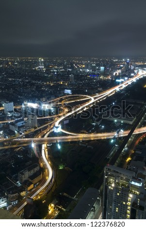 Closeup of highest Aerial view of Bangkok Highway Cityscape at Dusk in Thailand