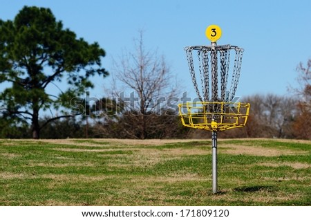 Closeup Of Hole Number Three On A Frisbee Golf Course With Shallow Depth Of Field - stock photo