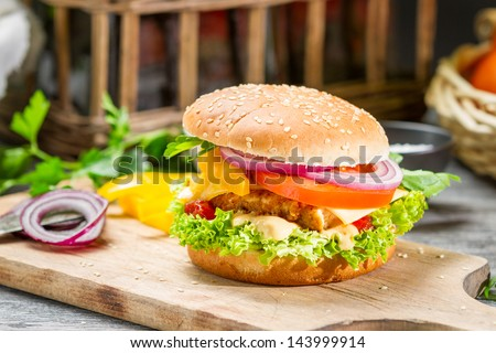 Closeup of homemade burger made from fresh vegetables - stock photo