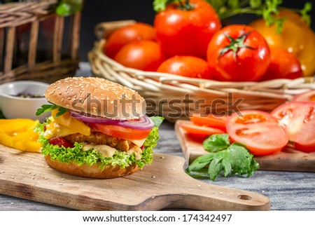 Closeup of homemade burger made �¢??�¢??from fresh vegetables