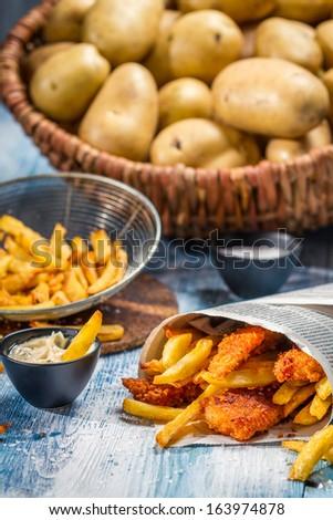 Closeup of homemade Fish & Chips - stock photo