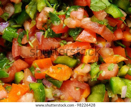 Closeup of homemade fresh pico de gallo (or salsa) - stock photo