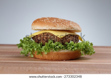 Closeup of homemade hamburger with fresh vegetables - stock photo