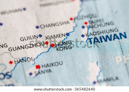 Closeup Hong Kong On Political Map Stock Photo Royalty Free