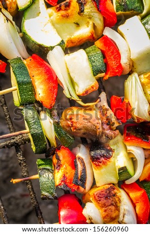 Closeup of hot skewers on the grate - stock photo