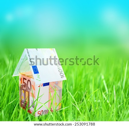 Closeup of house from euro money on grassy landscape - stock photo