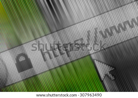 Closeup of Http Address in Web Browser in Shades of green  - stock photo